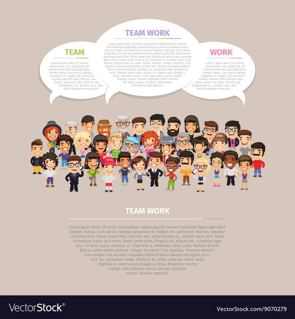 Team work poster with people vector