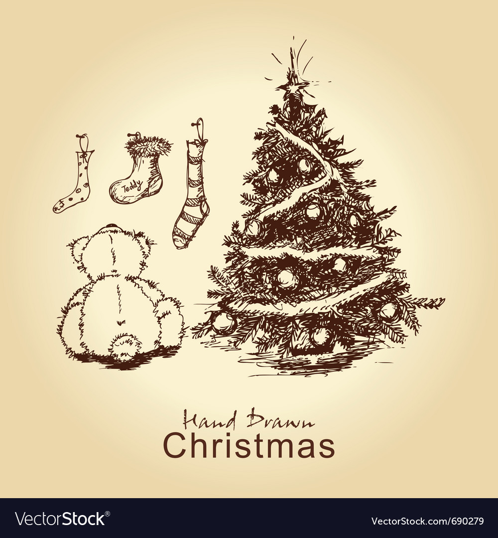 Teddy and christmas tree vector