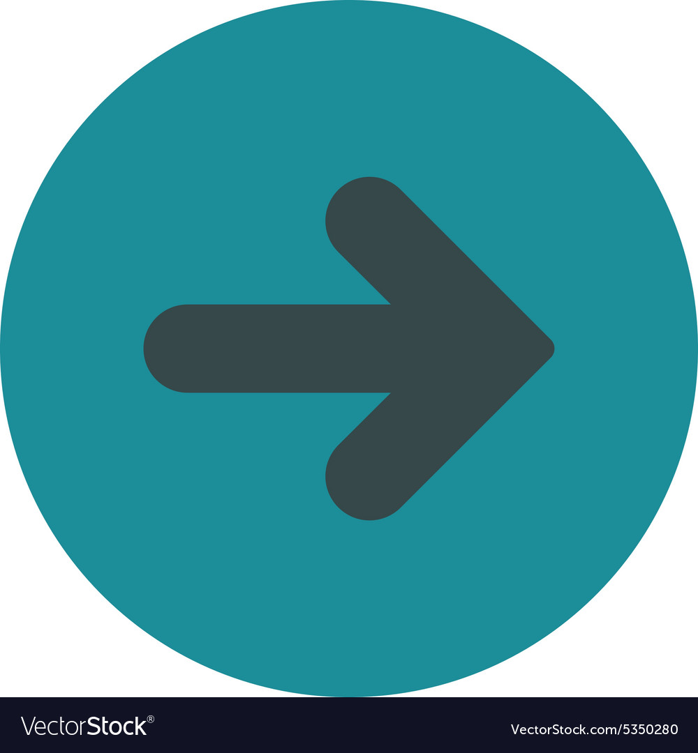 Arrow right flat soft blue colors round button vector