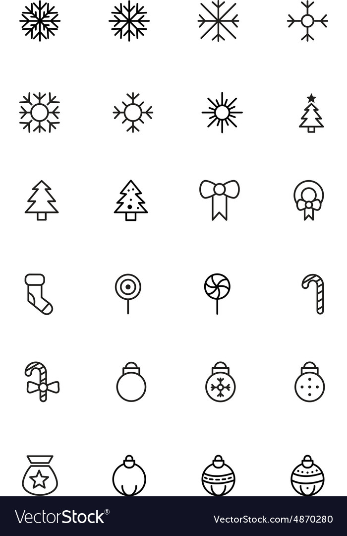 Christmas line icons 1 vector