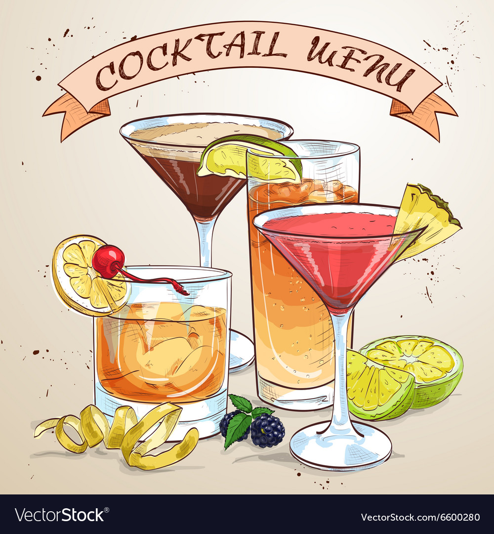 Contemporary classics cocktail menu vector