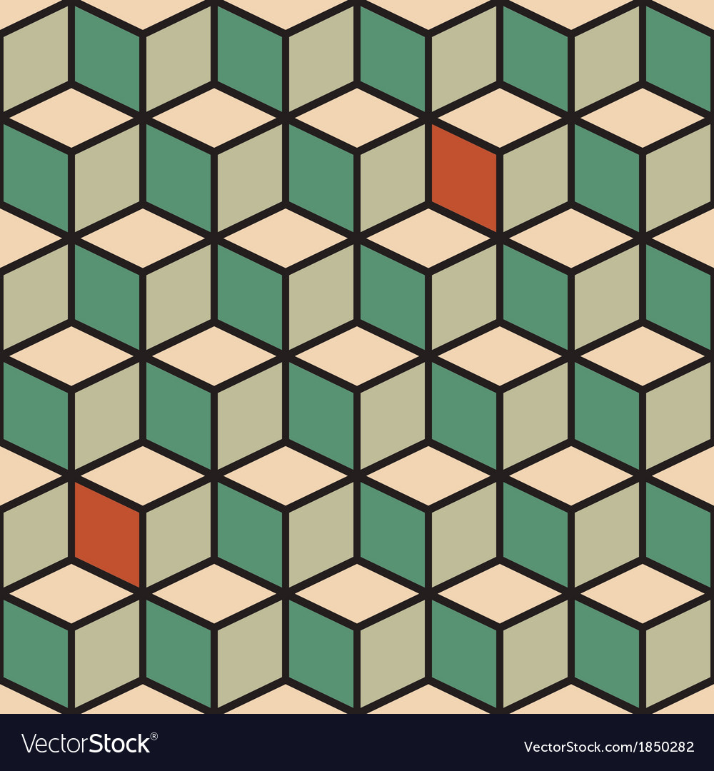 Seamless pattern with cubes in retro color vector
