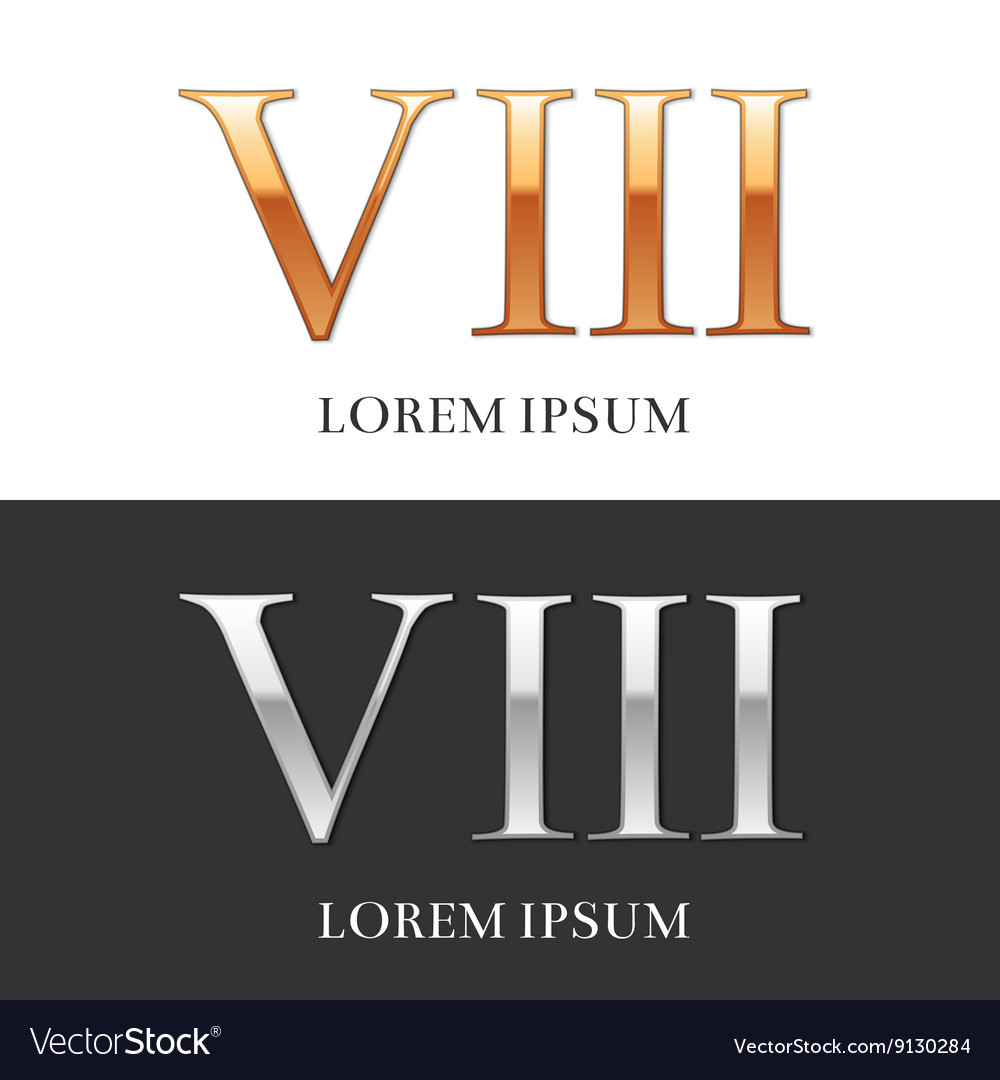 8 viii luxury gold and silver roman numerals vector