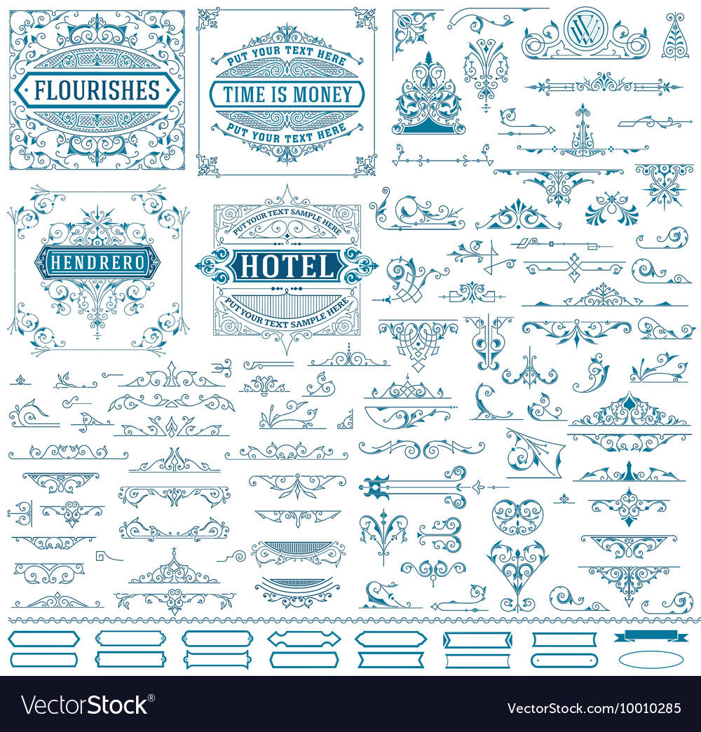 Kit of vintage resources for invitations banners vector