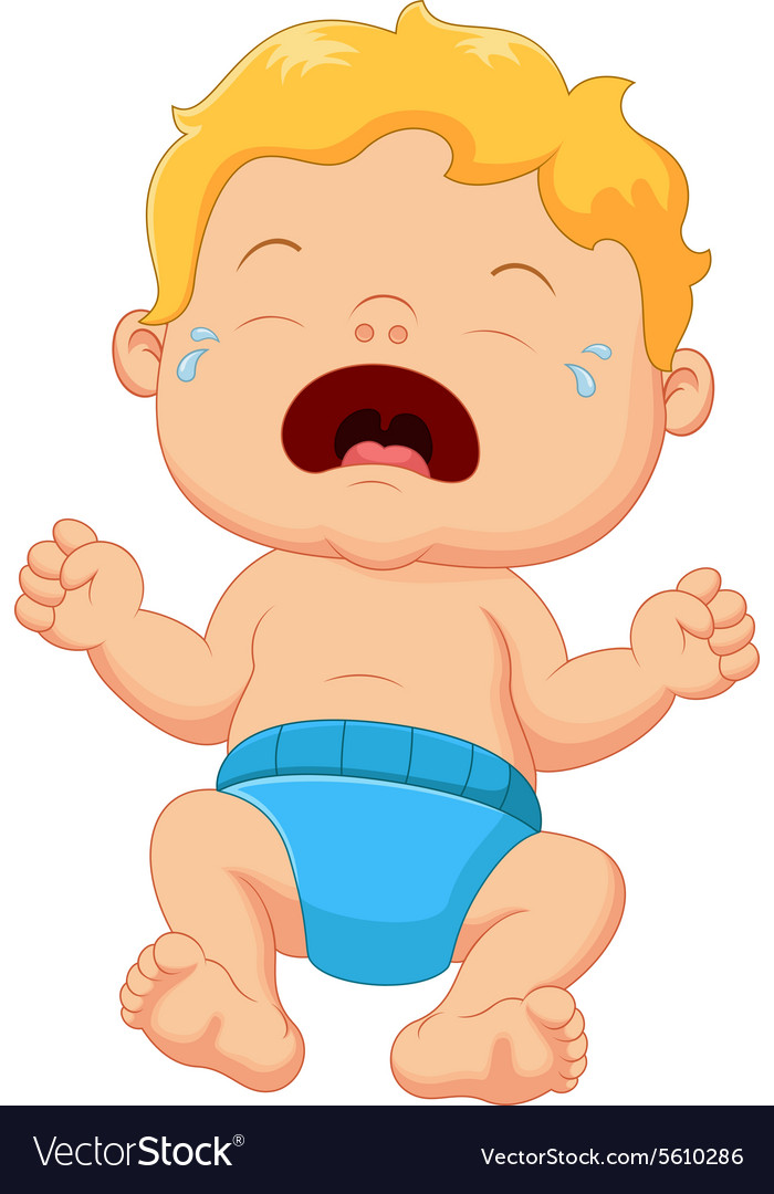 Cartoon little baby crying vector
