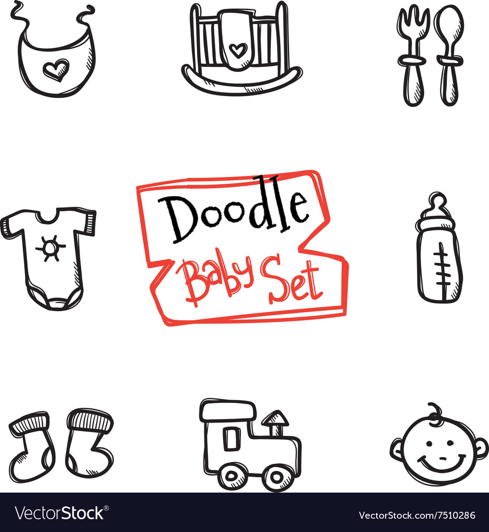 Doodle baby icons set cute hand drawn vector