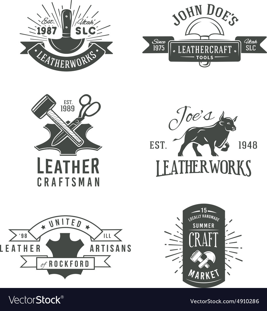 First set of grey vintage craft logo vector