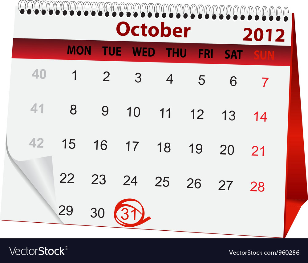 Holiday calendar halloween vector