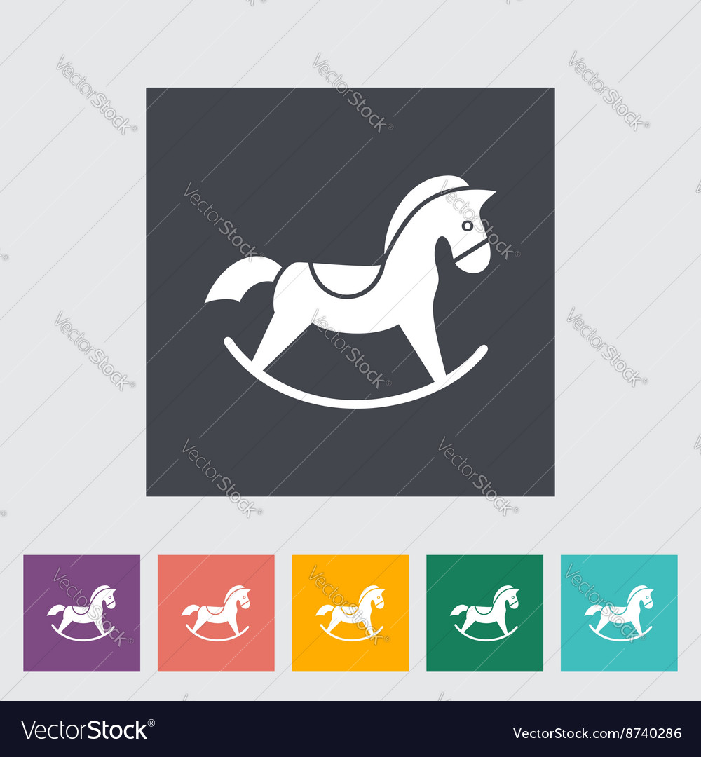 Horse toy flat icon vector