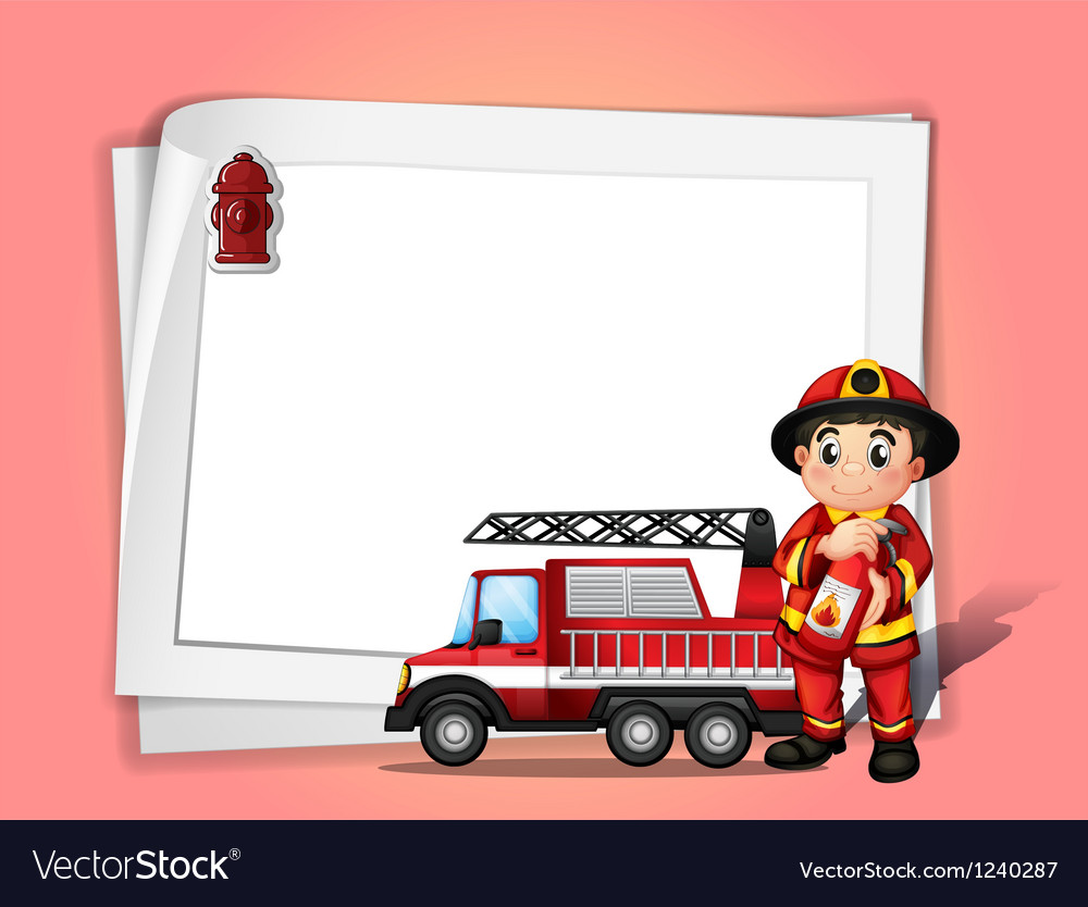 A fireman holding a fire extinguisher beside his vector