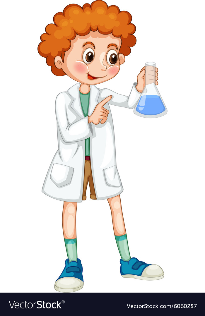 Boy in white coat holding beaker vector