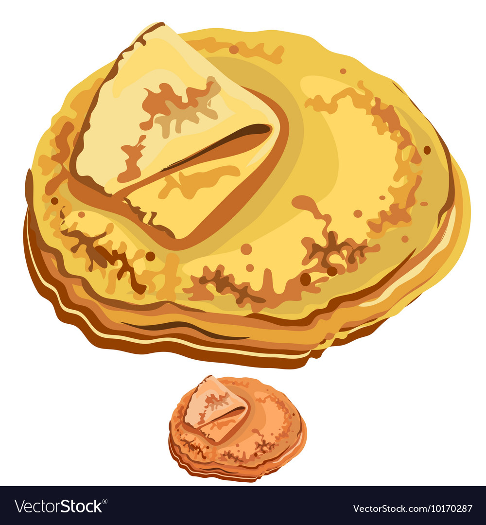 Delicious pancakes closeup on white background vector