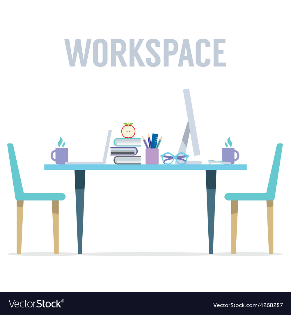 Flat design two sides workspace vector