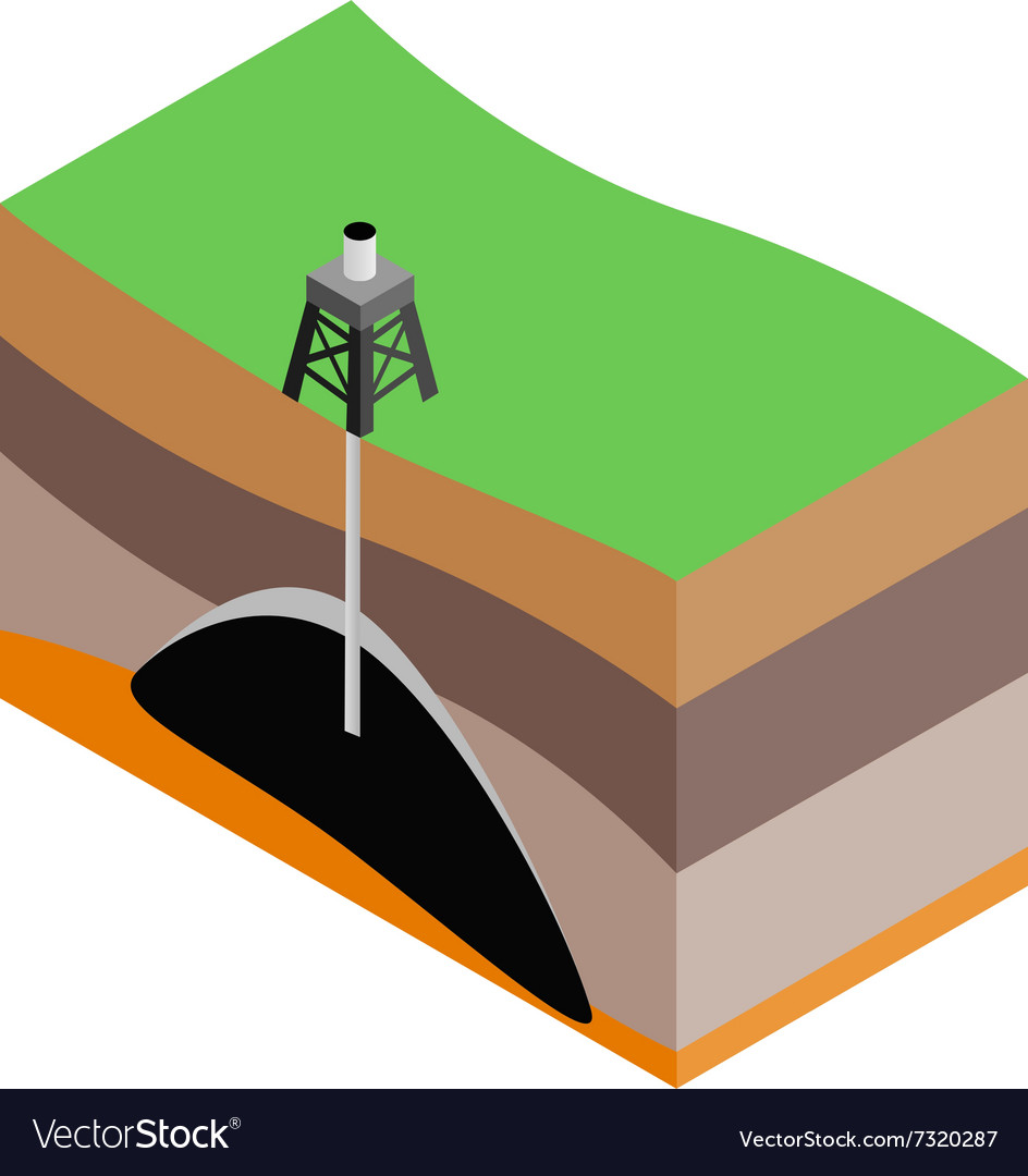 Oil extraction isometric 3d icon vector
