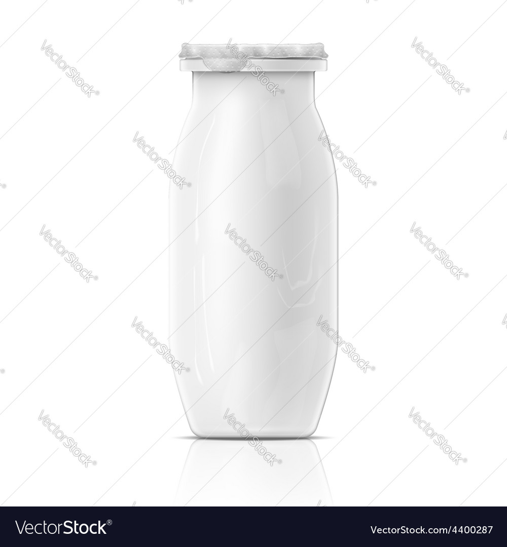 Small white yougurt bottle template vector