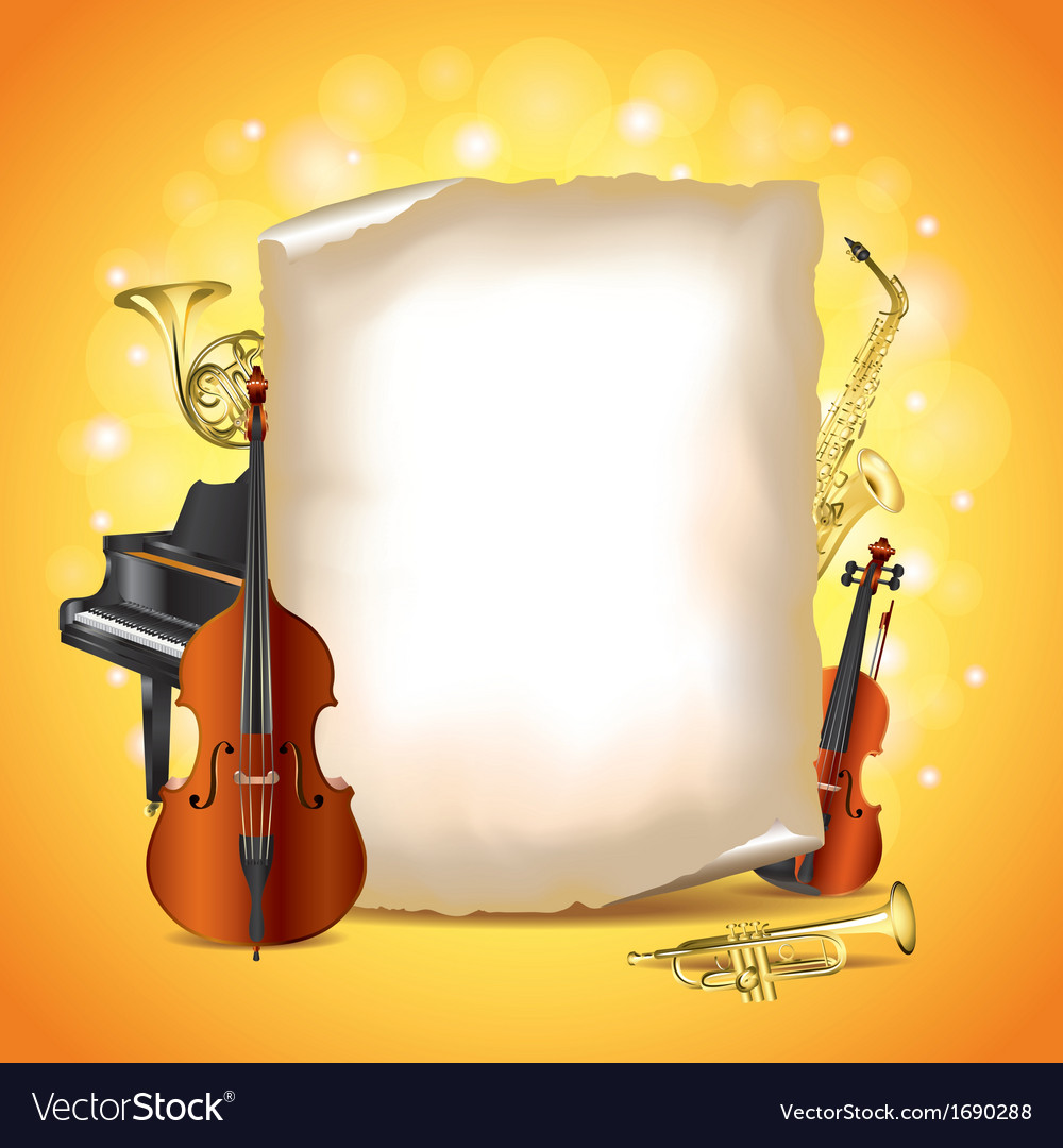Paper musical instruments vector