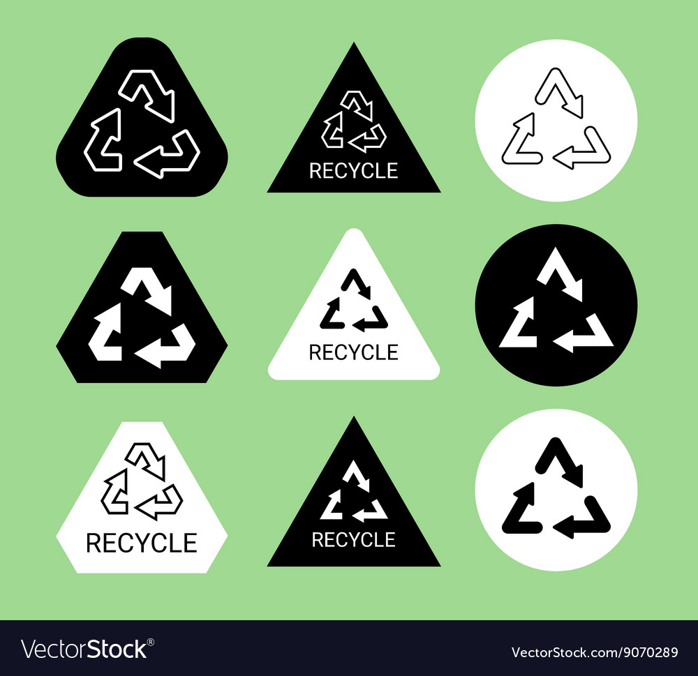 Black and white ecological recycle symbol sticker vector