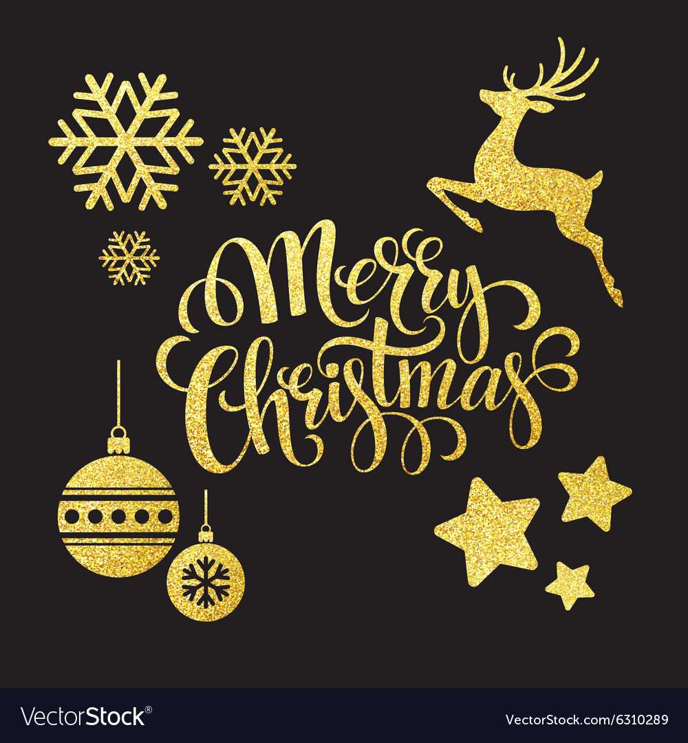 Christmas gold glitter elements vector