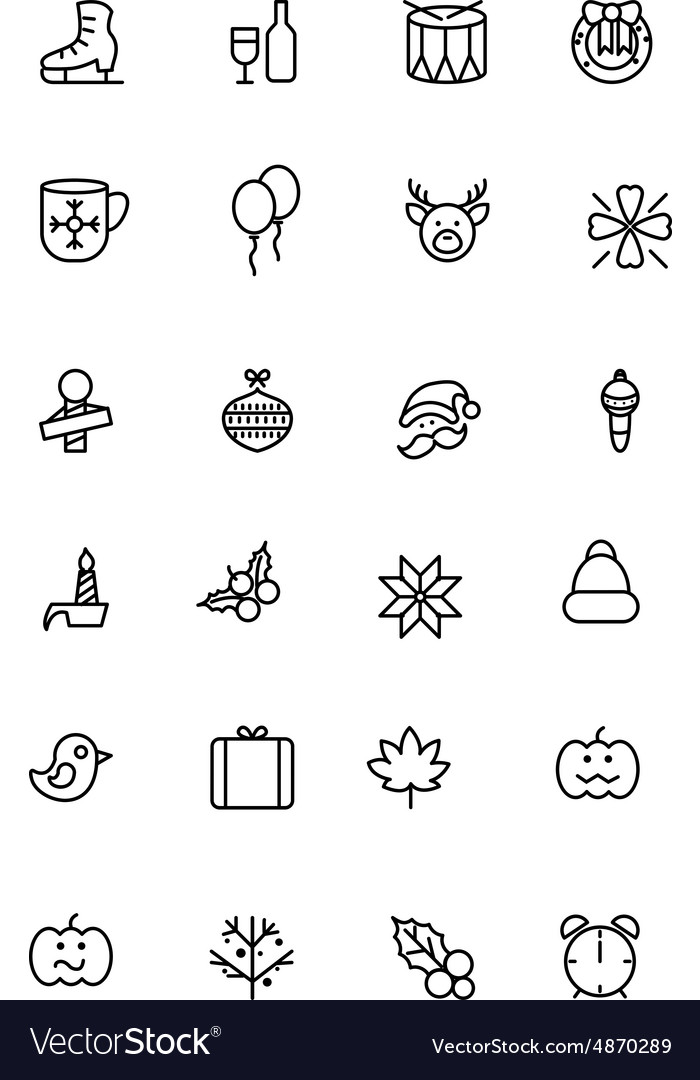 Christmas line icons 4 vector