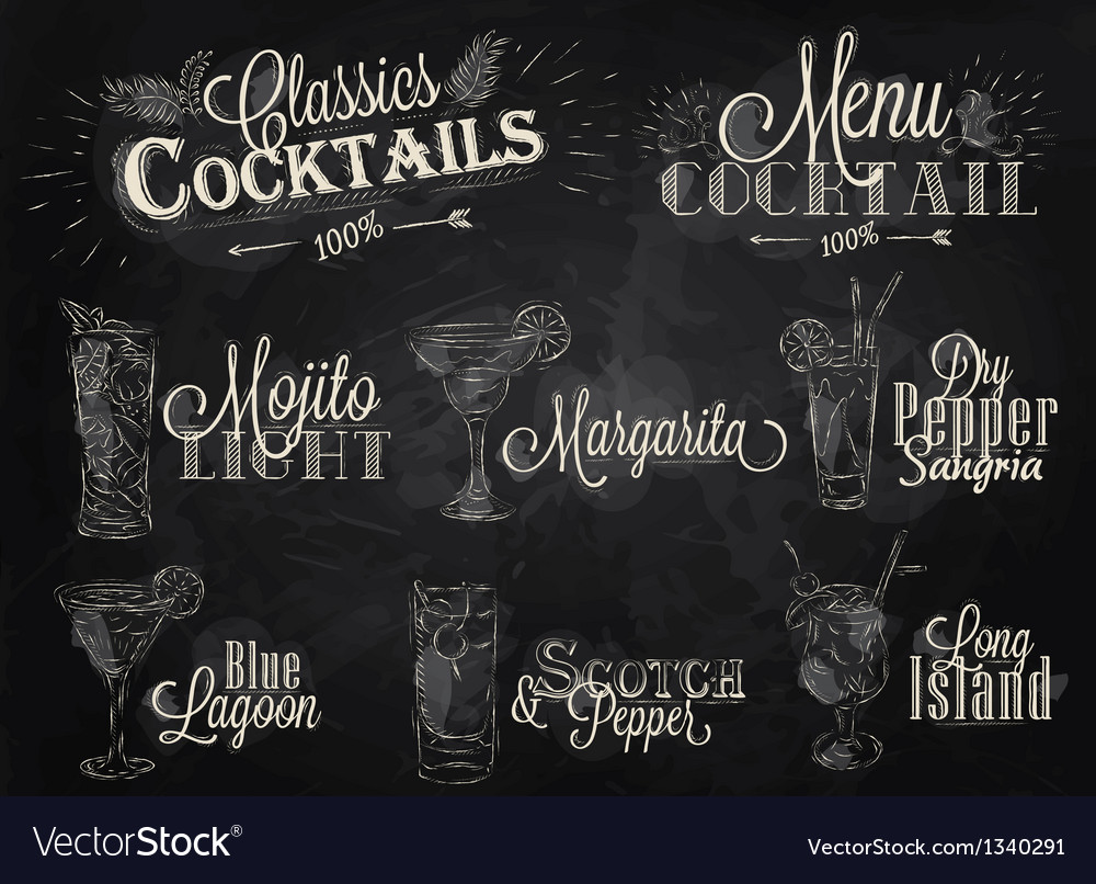 Cocktails chalk vector