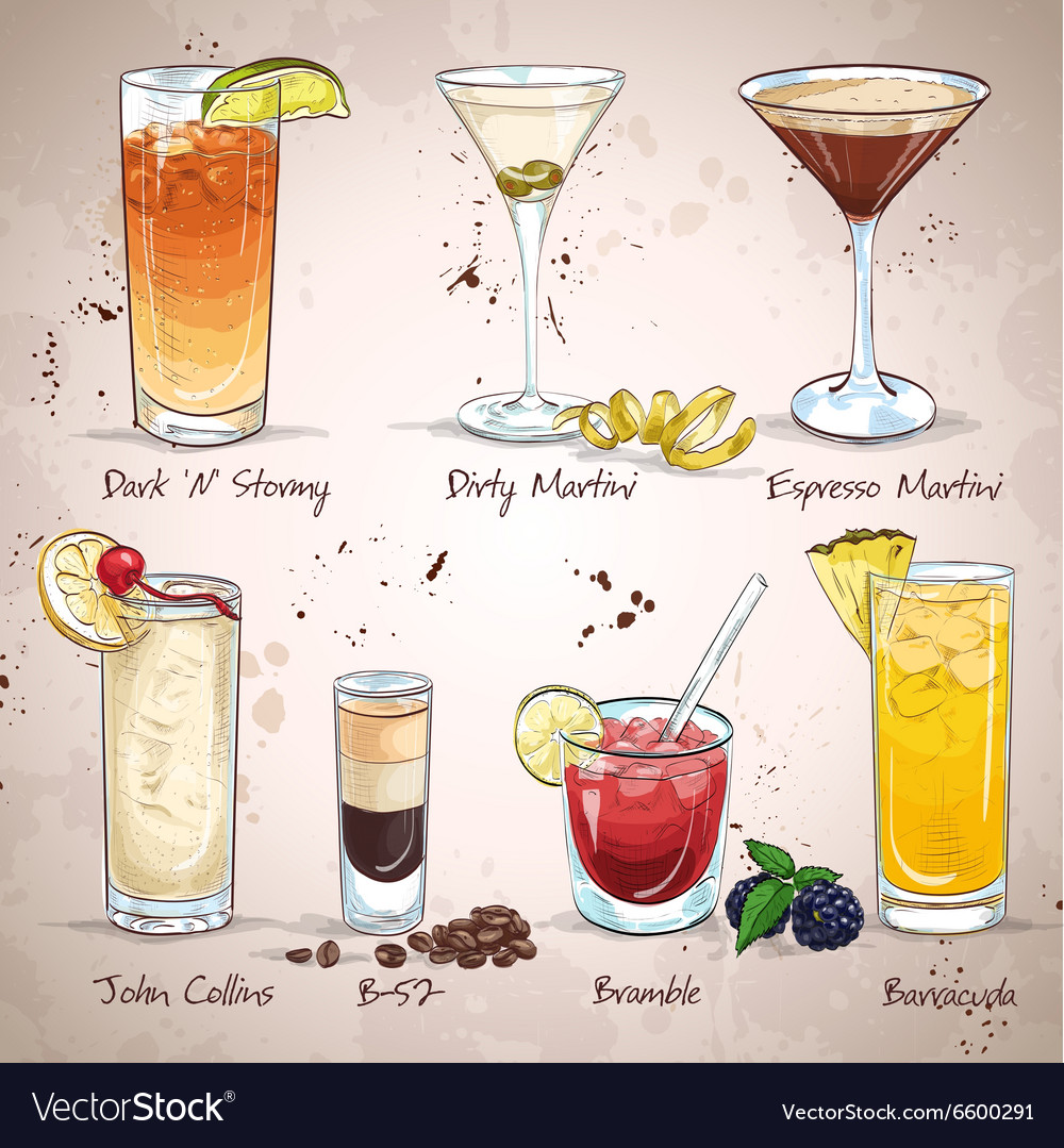 Contemporary classics cocktail set vector