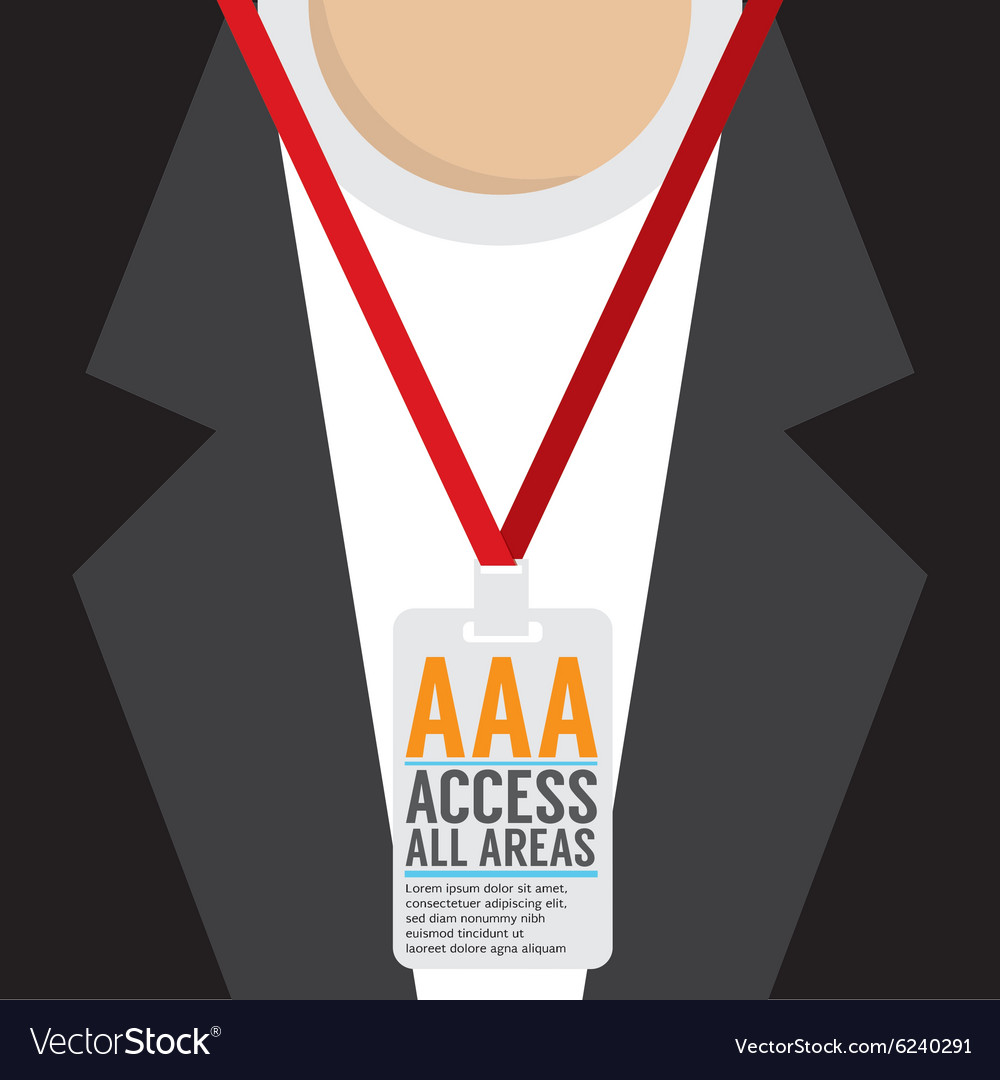 Flat design access all area staff card vector