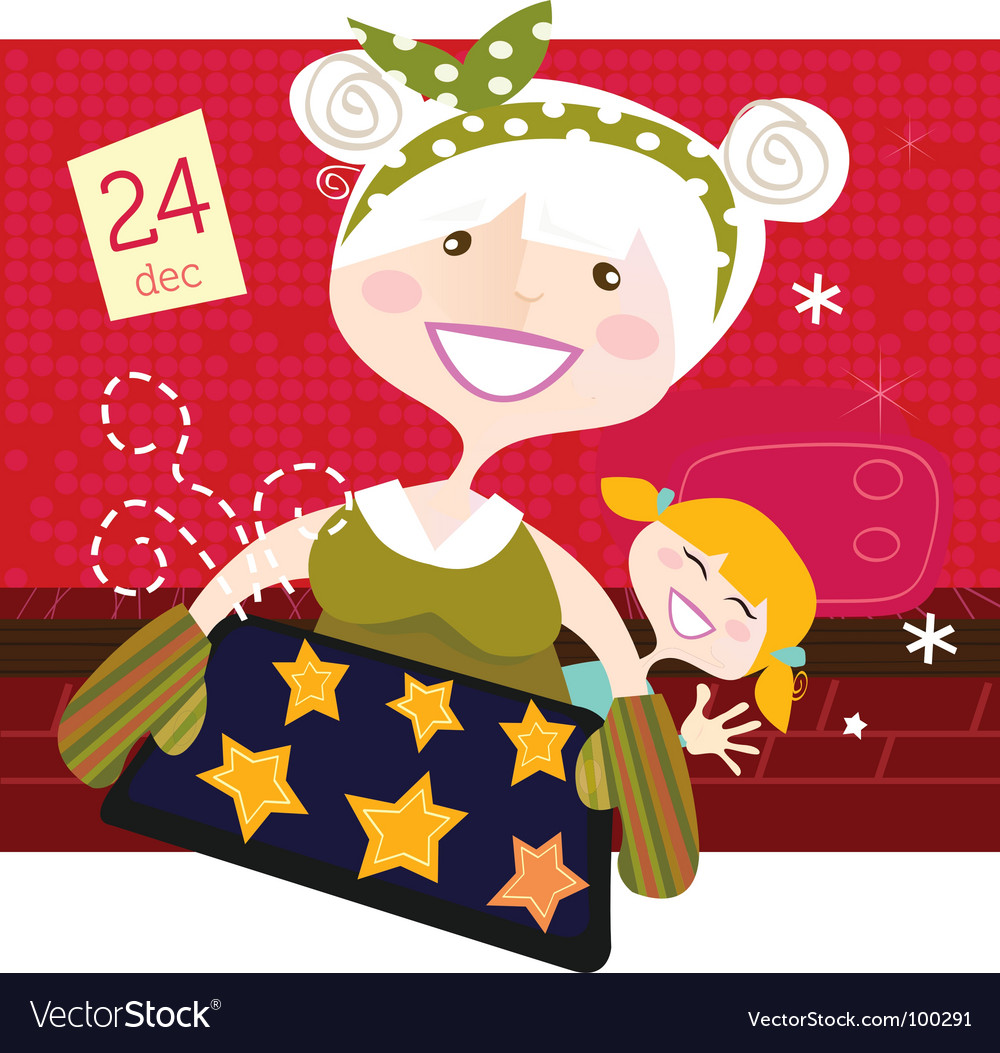 Grandmother with christmas cookies vector