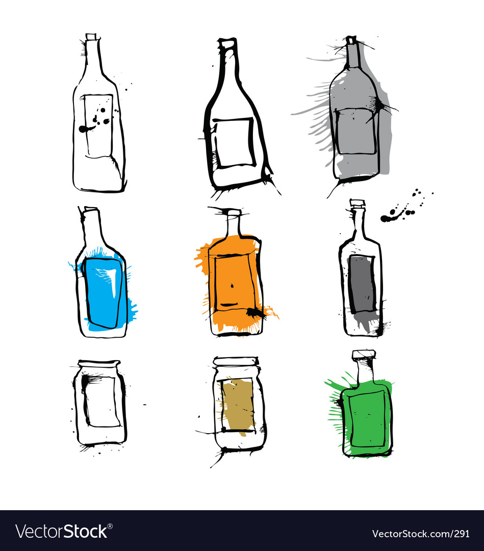 Ink bottles and jars vector