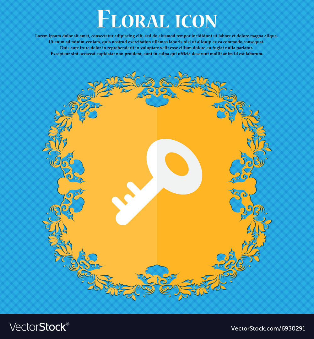 Key icon floral flat design on a blue abstract vector