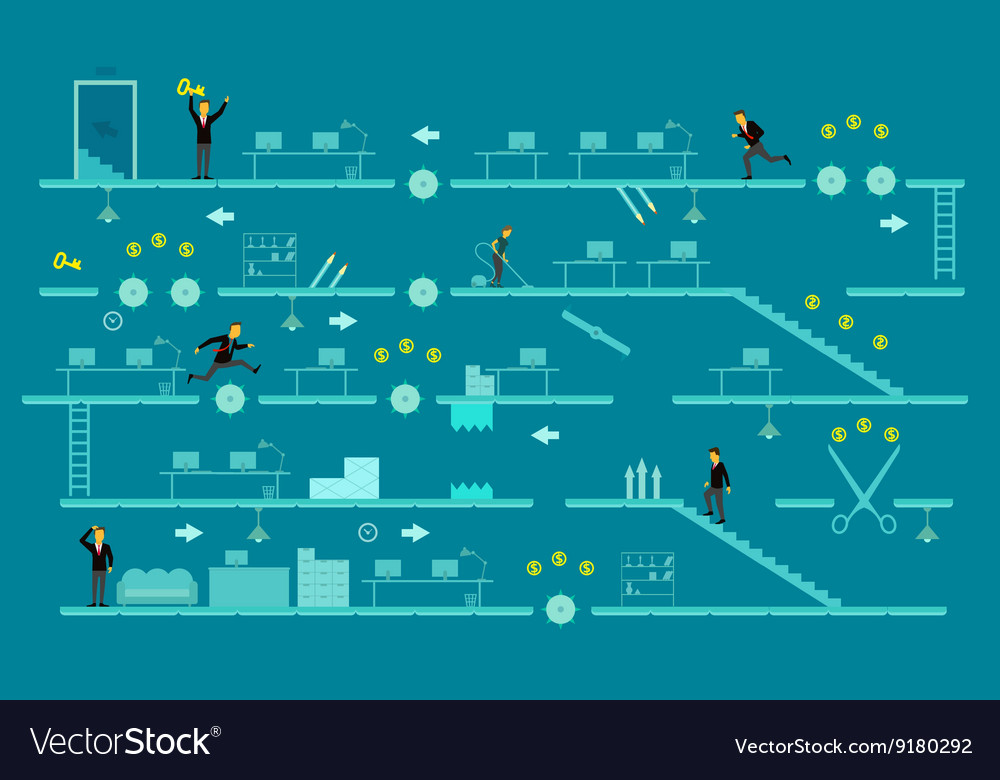 Game of business a man jumps over obstacles vector