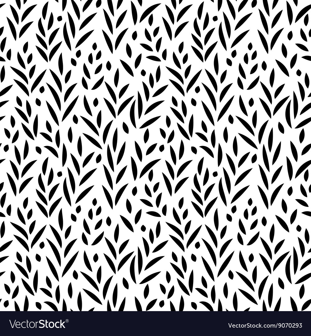 Black and white leaves seamless pattern vector