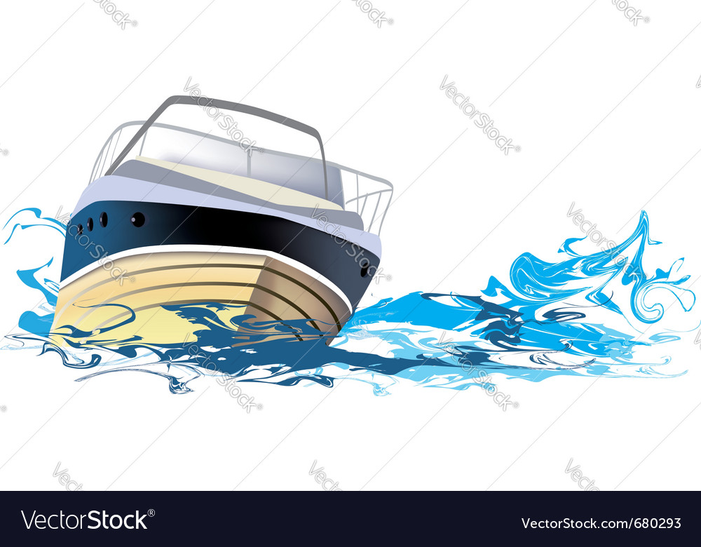 Yacht at sea vector
