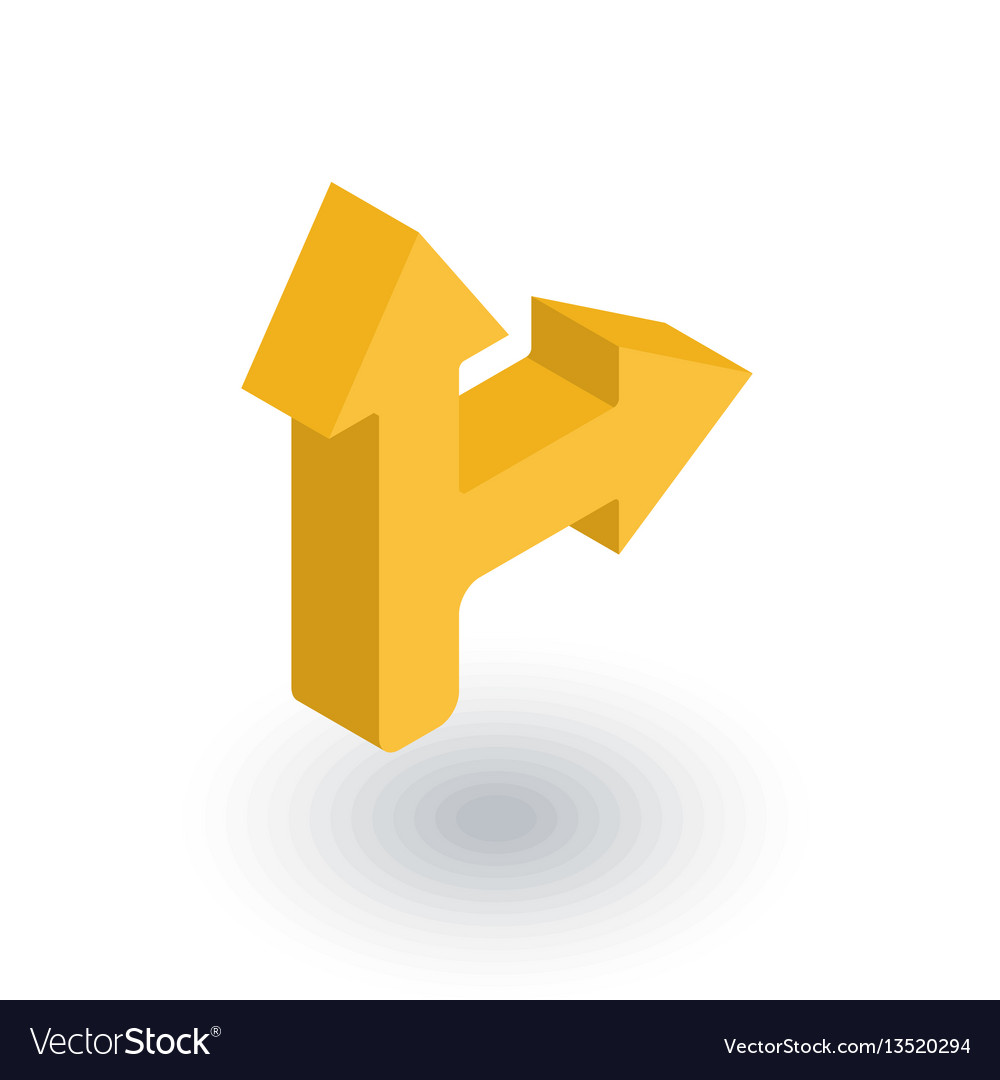 Arrow cross turn right isometric flat icon 3d vector