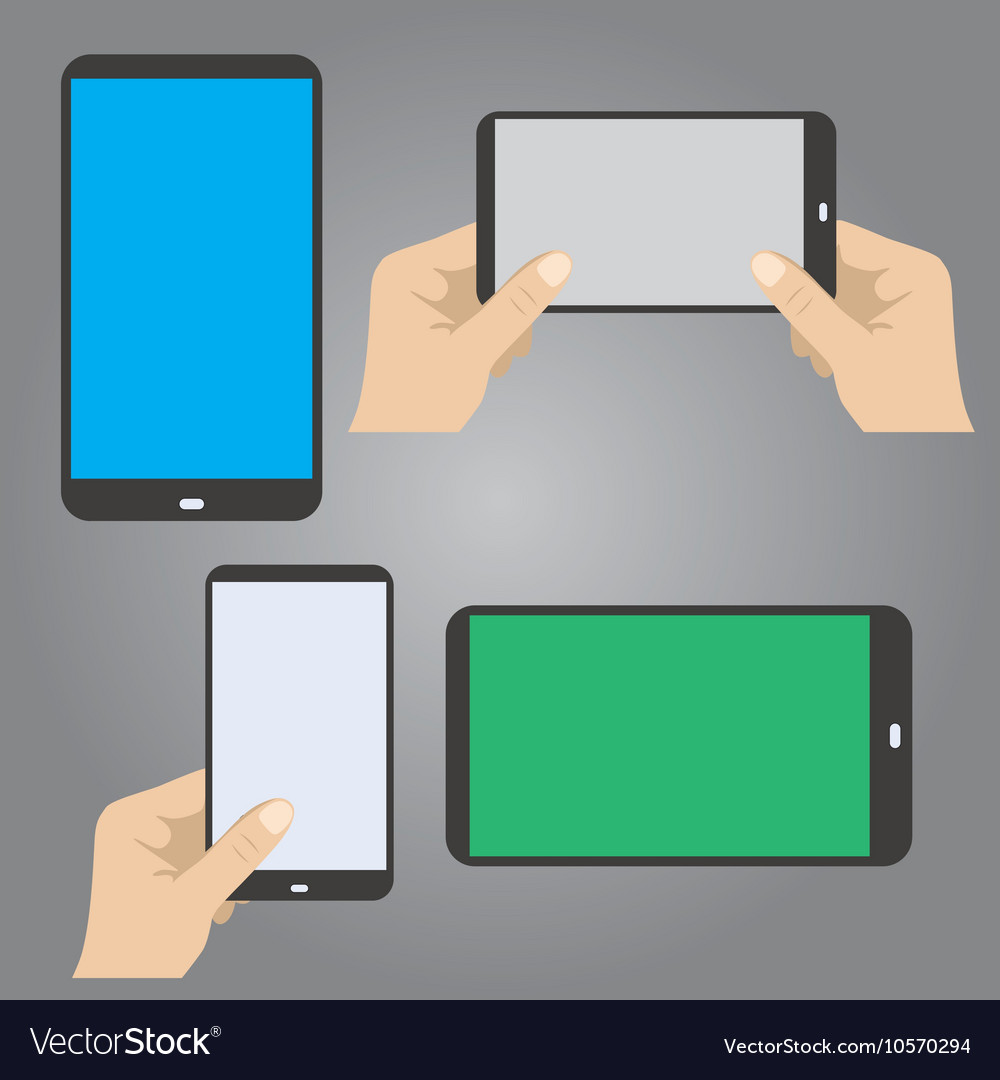 Hands hold the phone in horizontal and vertical vector