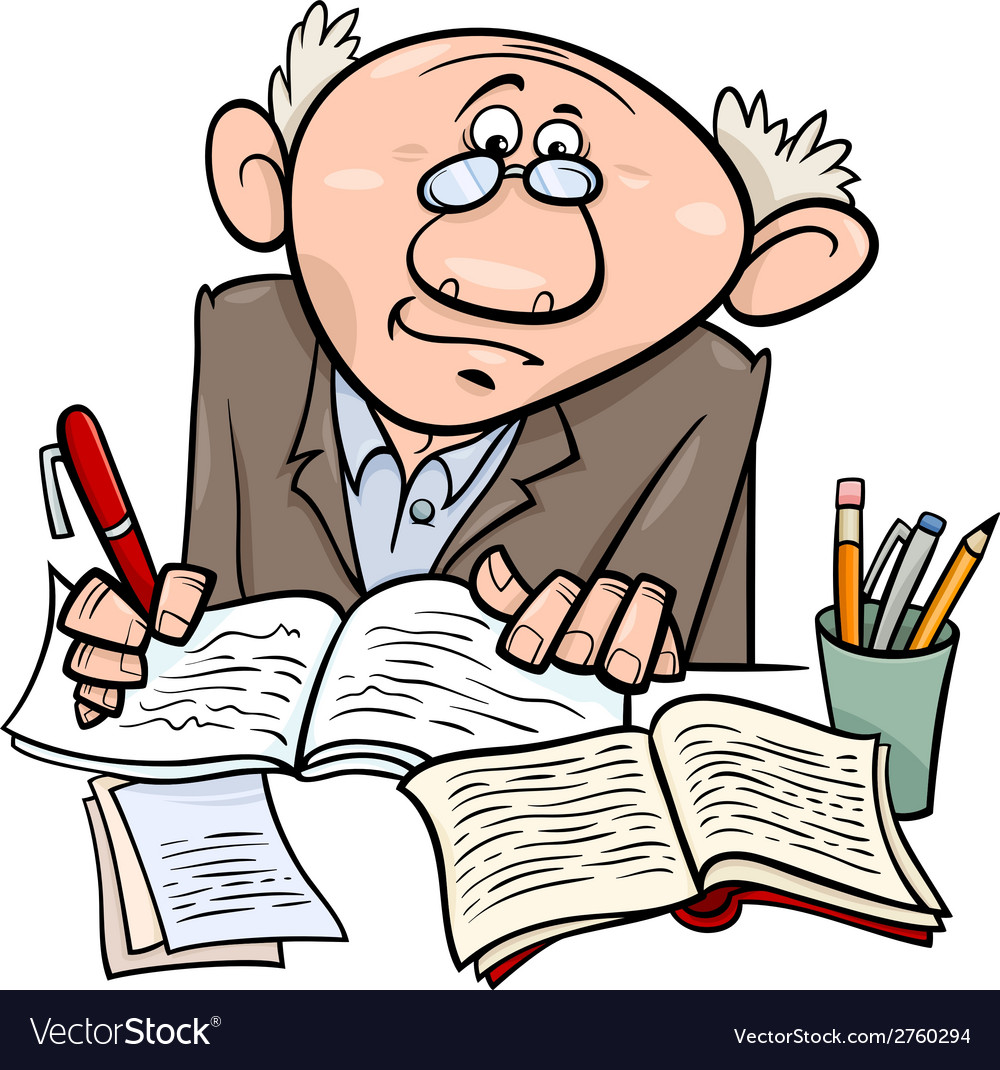 Professor or writer cartoon vector