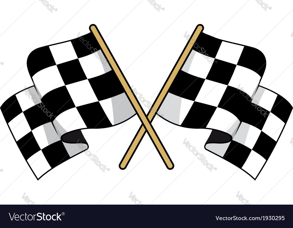 Crossed black and white checkered flags vector