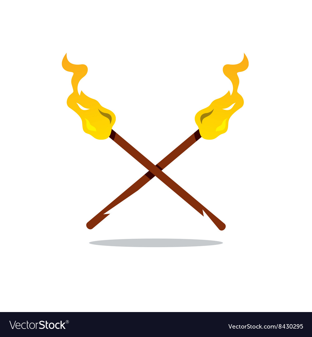 Two torch cartoon vector