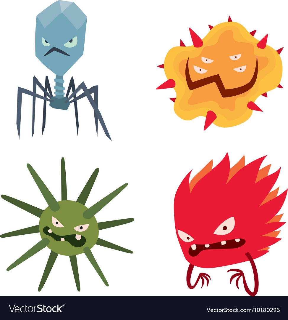 Cartoon viruses characters set vector
