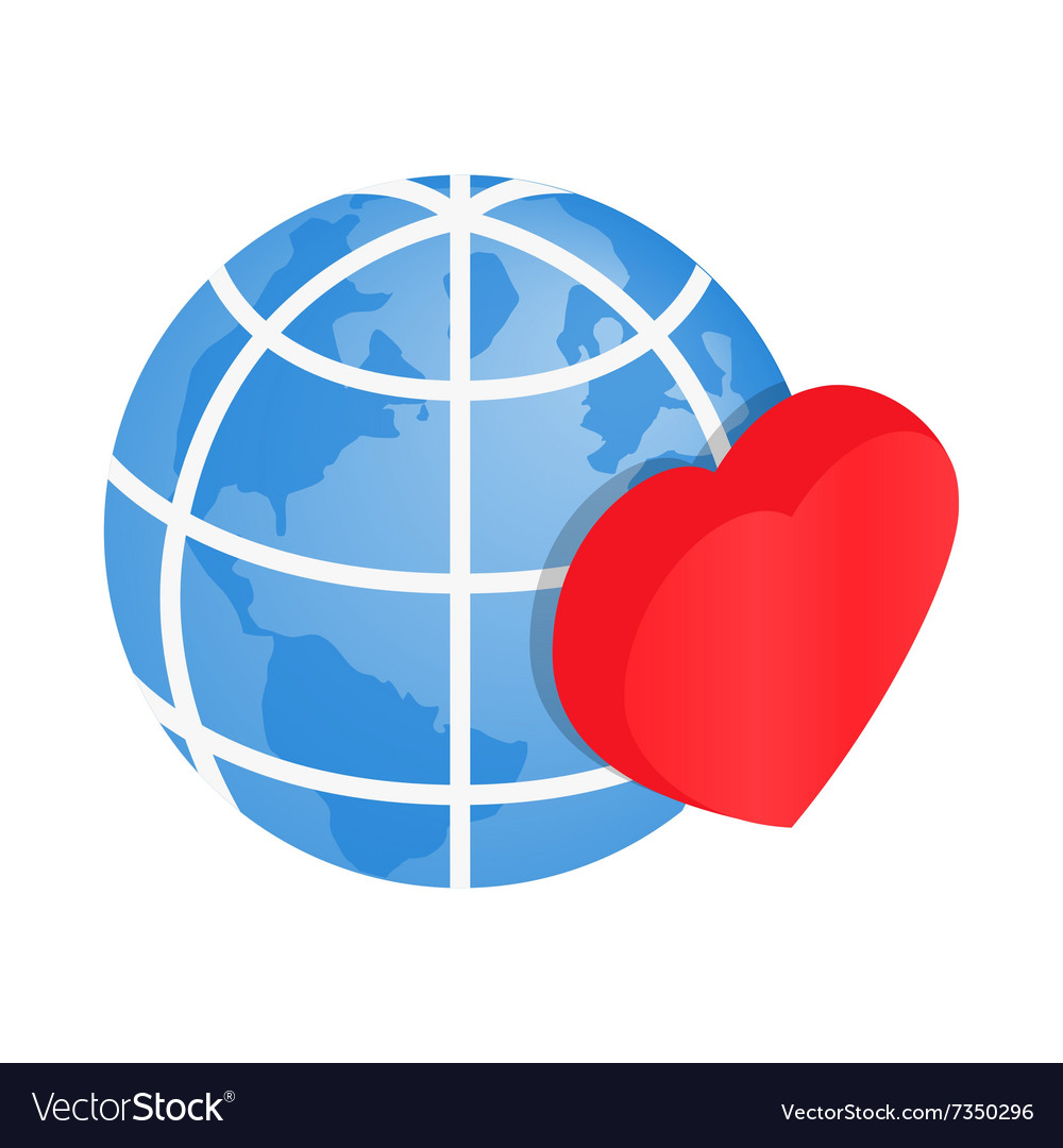 Heart of globe 3d isometric icon vector