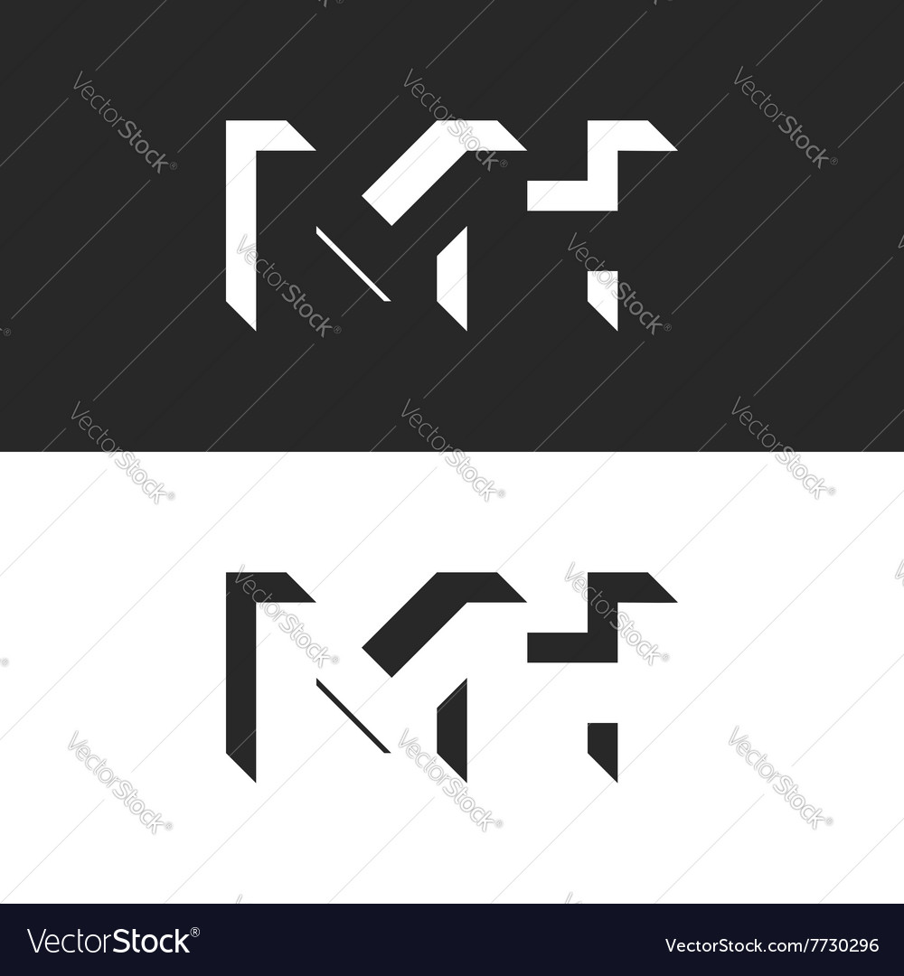 Initials mh letters logo mockup group m and h vector