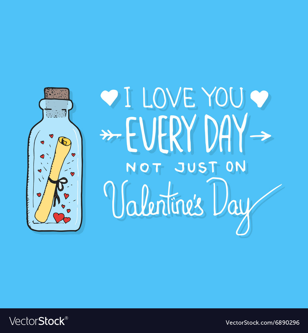 Valentines day greeting card with lettering vector