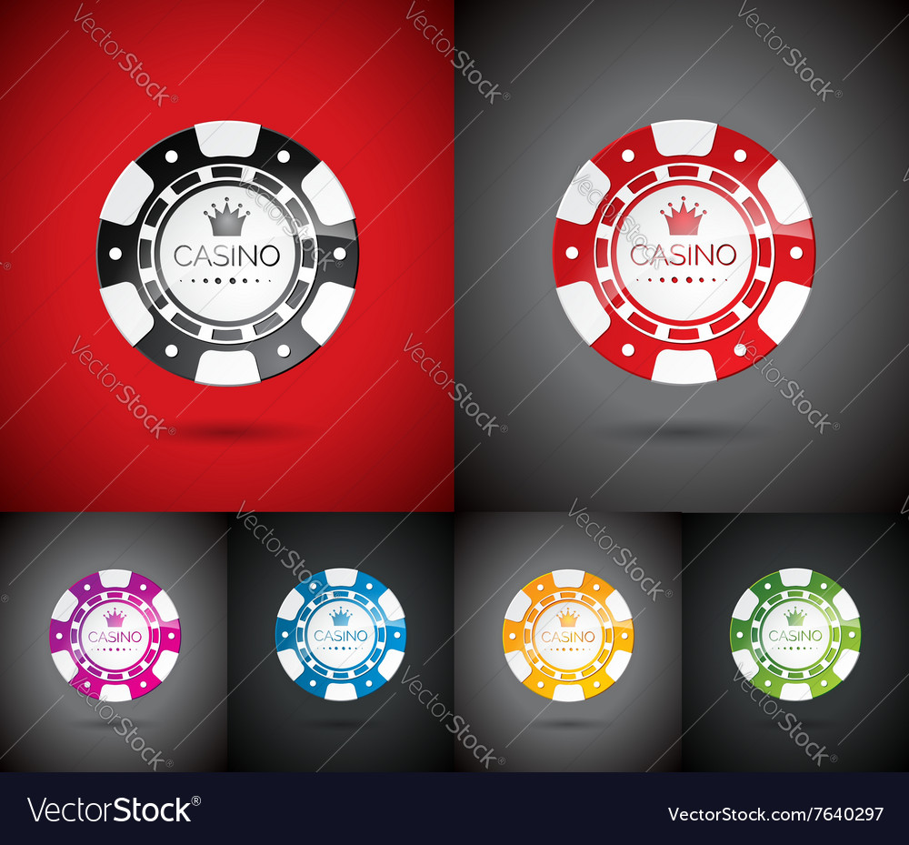 Casino with playing chips set vector