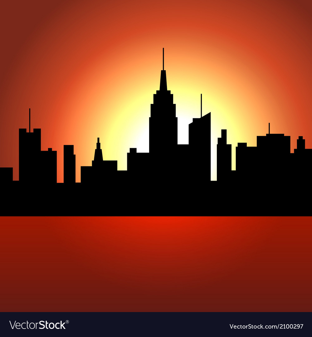 Sunset over city skyscrappers silhouette vector