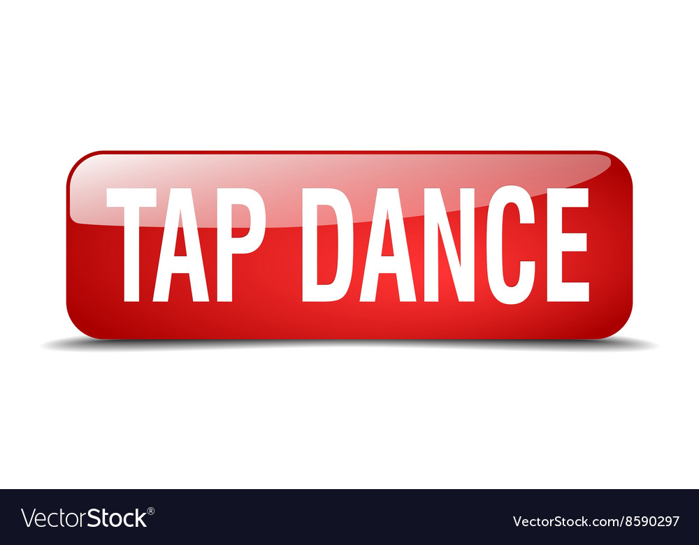 Tap dance red square 3d realistic isolated web vector