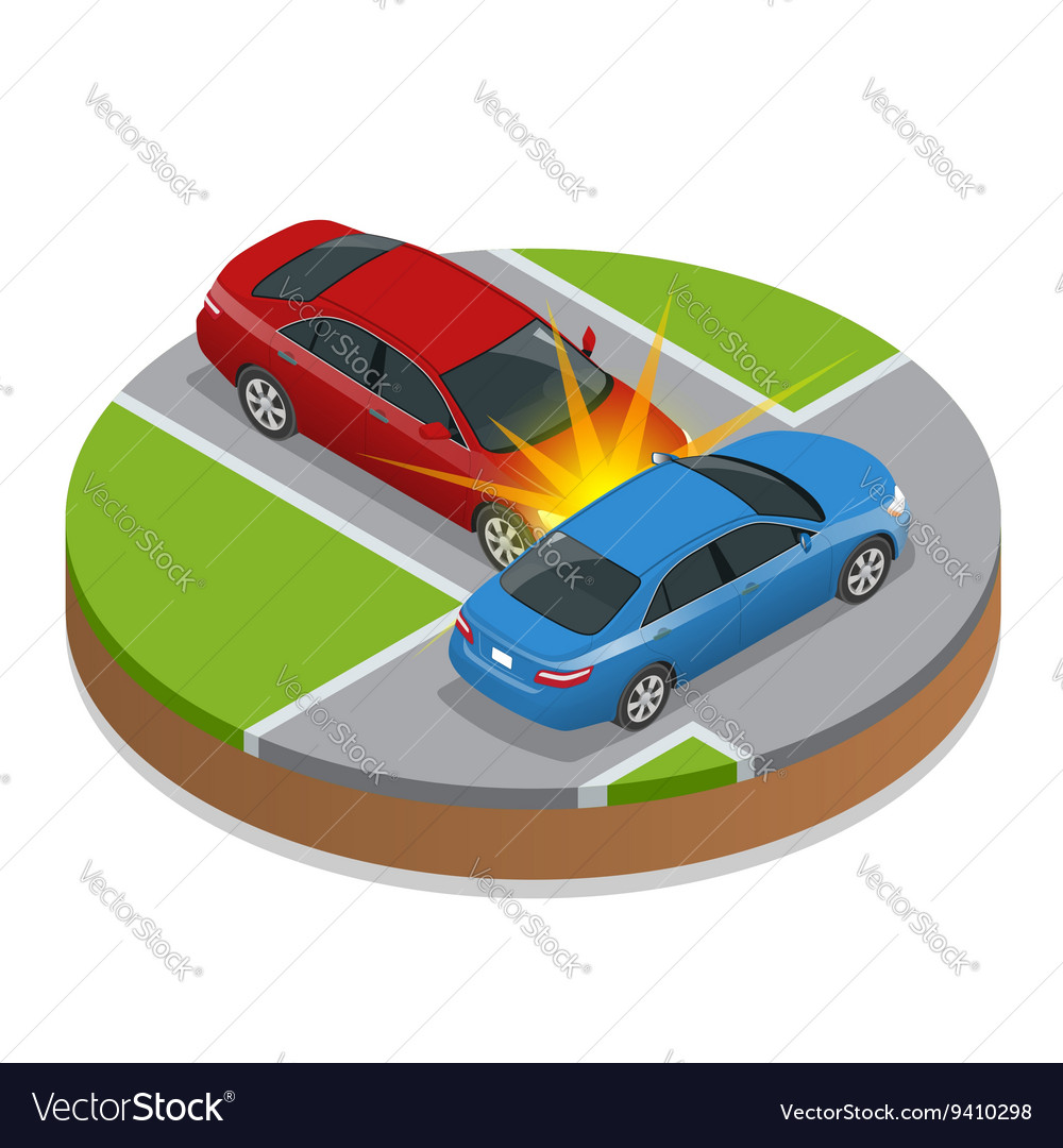Car accident car crash flat 3d isometric vector