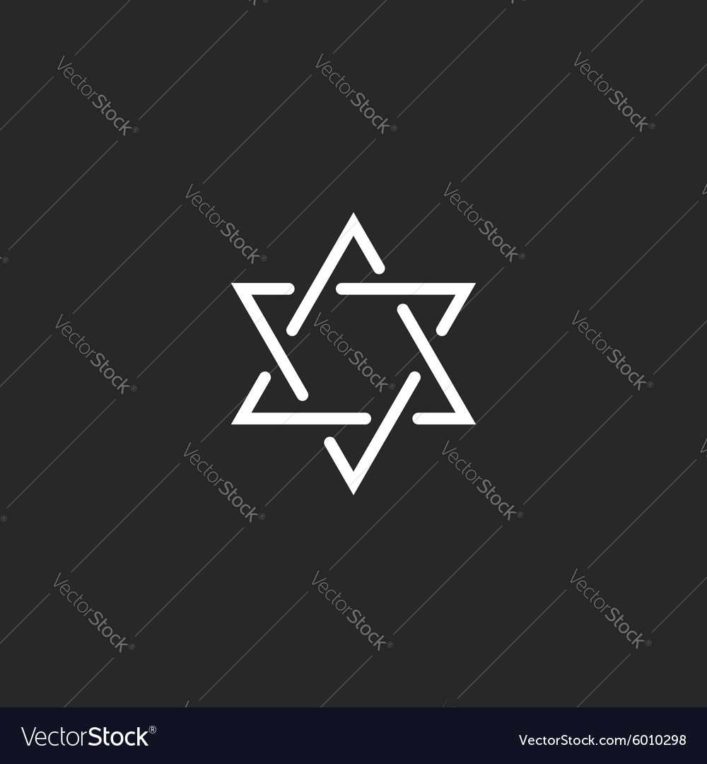 Star of david monogram logo hexagram of thin line vector