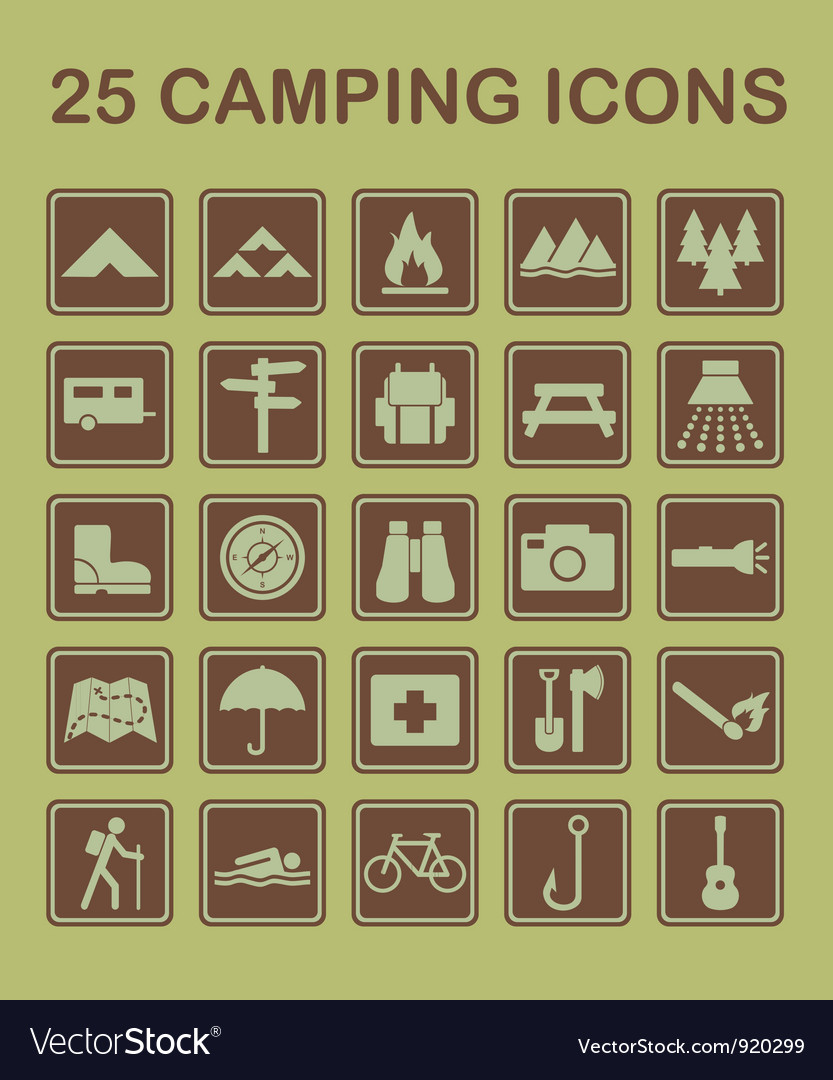 25 camping icons vector