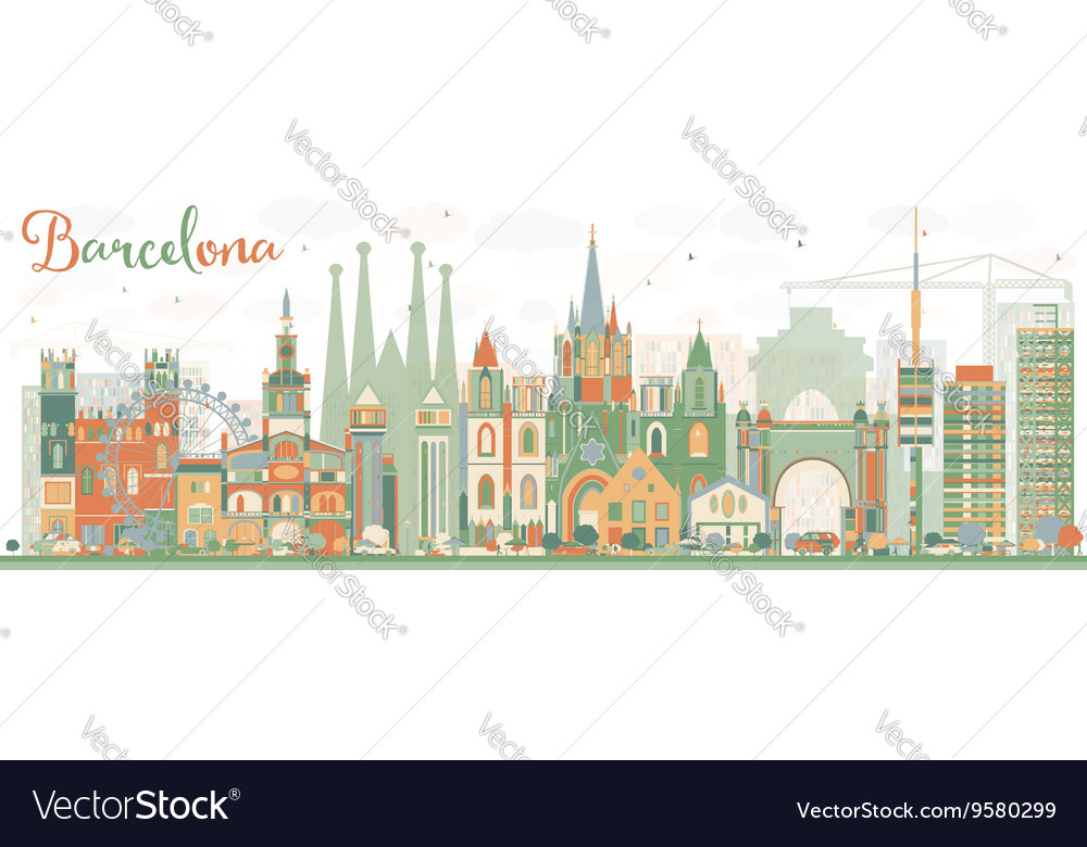 Abstract barcelona skyline with color buildings vector