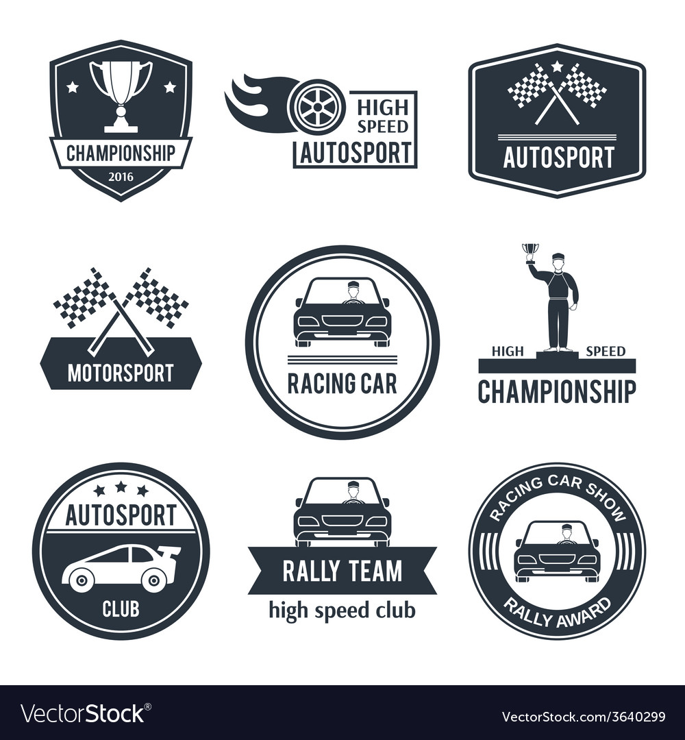 Auto sport label vector