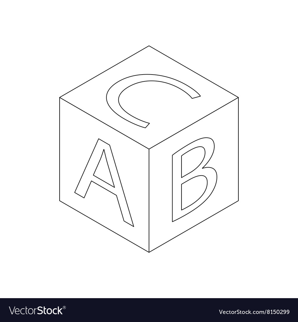 Baby letter cube icon isometric 3d style vector